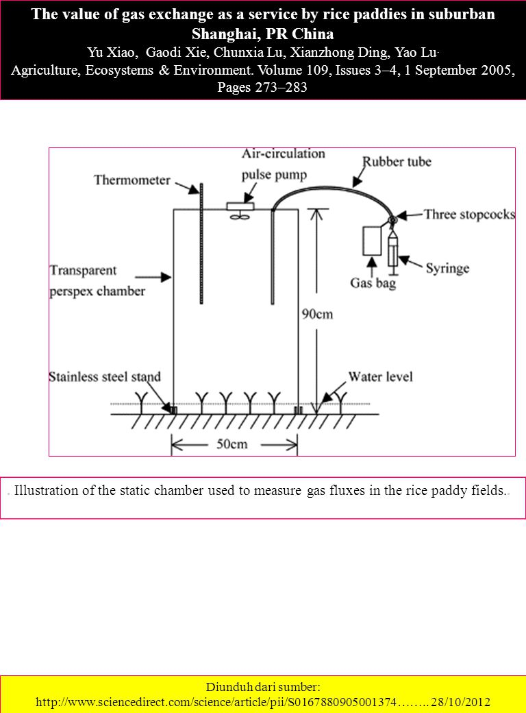 . Illustration of the static chamber used to measure gas fluxes in the rice paddy fields.. The value of gas exchange as a service by rice paddies in s