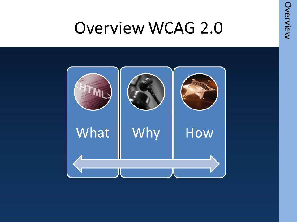 Overview WCAG 2.0 WhatWhyHow Overview