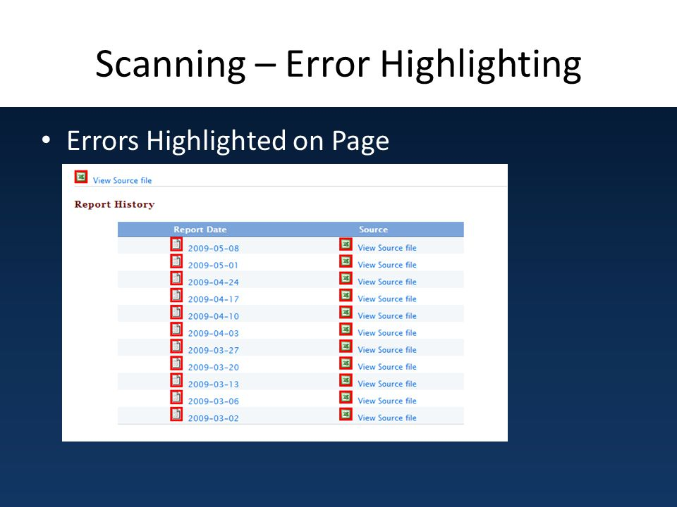 Scanning – Error Highlighting Errors Highlighted on Page