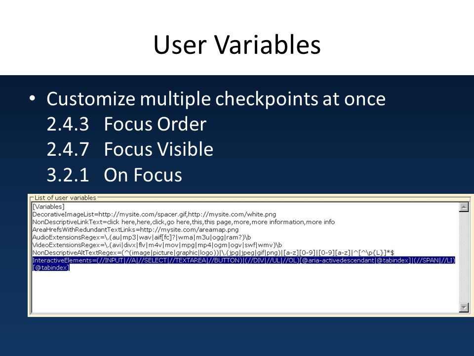User Variables Customize multiple checkpoints at once 2.4.3 Focus Order 2.4.7 Focus Visible 3.2.1 On Focus