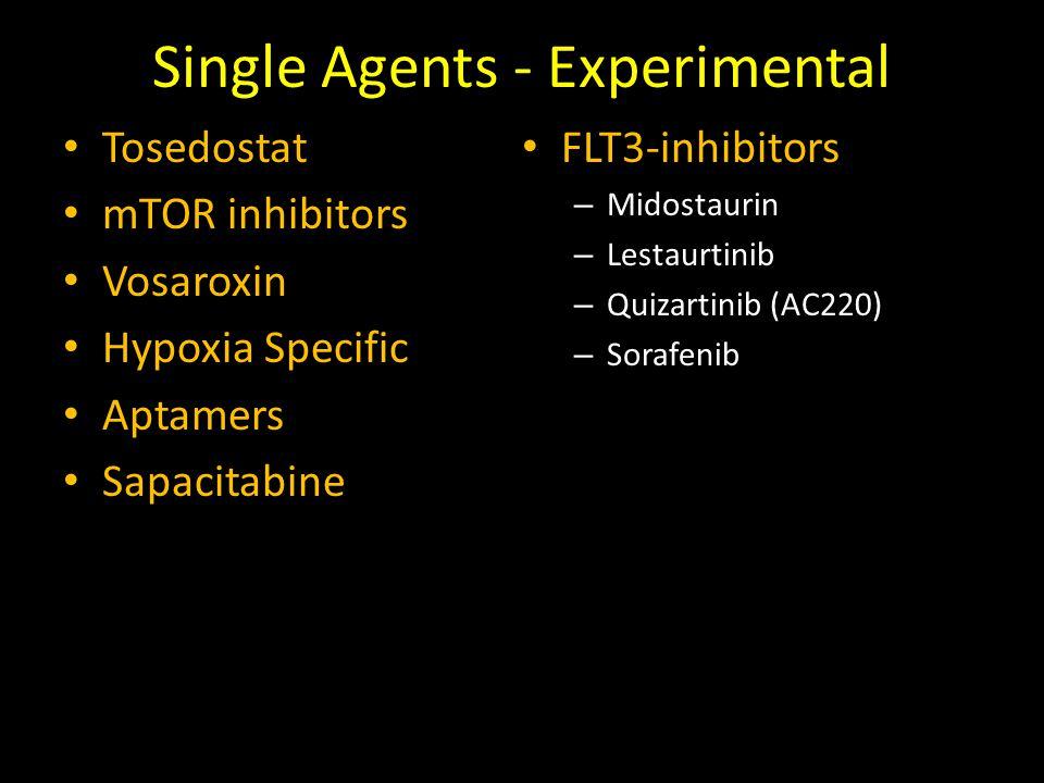 Single Agents - Experimental Tosedostat mTOR inhibitors Vosaroxin Hypoxia Specific Aptamers Sapacitabine FLT3-inhibitors – Midostaurin – Lestaurtinib