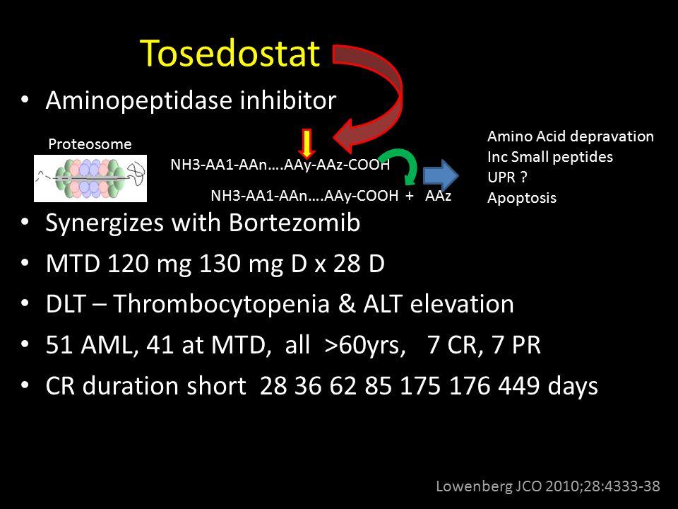 Tosedostat Aminopeptidase inhibitor Synergizes with Bortezomib MTD 120 mg 130 mg D x 28 D DLT – Thrombocytopenia & ALT elevation 51 AML, 41 at MTD, al