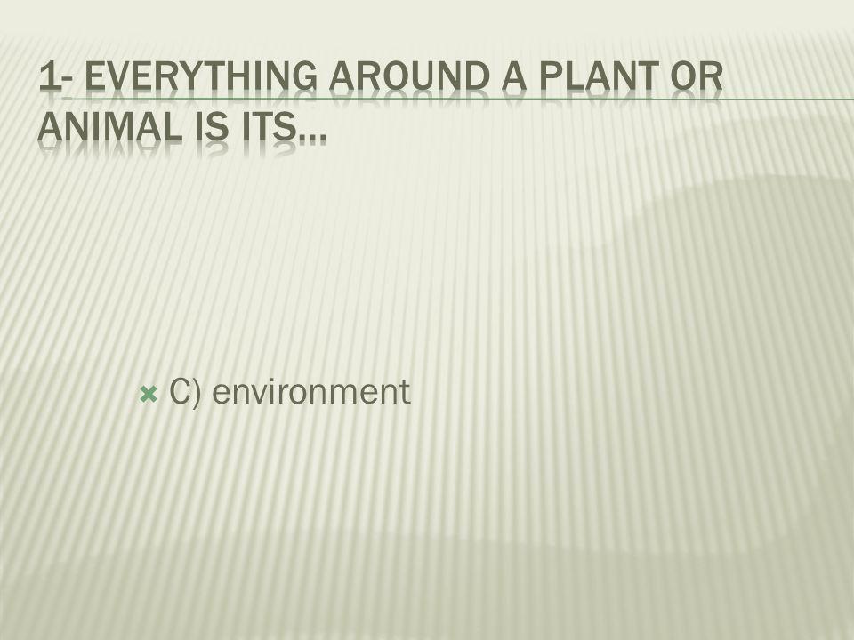  A) community  B) habitat  C) environment