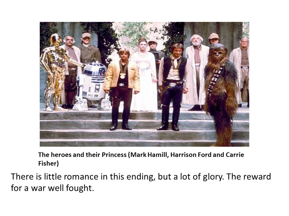 The heroes and their Princess (Mark Hamill, Harrison Ford and Carrie Fisher) There is little romance in this ending, but a lot of glory.