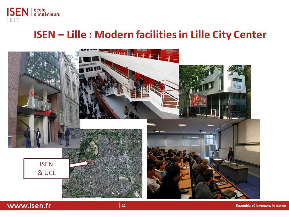 Ensemble, ré-inventons le monde 12 ISEN – Lille : Modern facilities in Lille City Center ISEN & UCL
