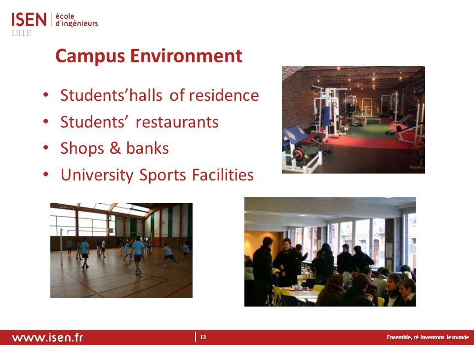 Campus Environment Ensemble, ré-inventons le monde 13 Students'halls of residence Students' restaurants Shops & banks University Sports Facilities