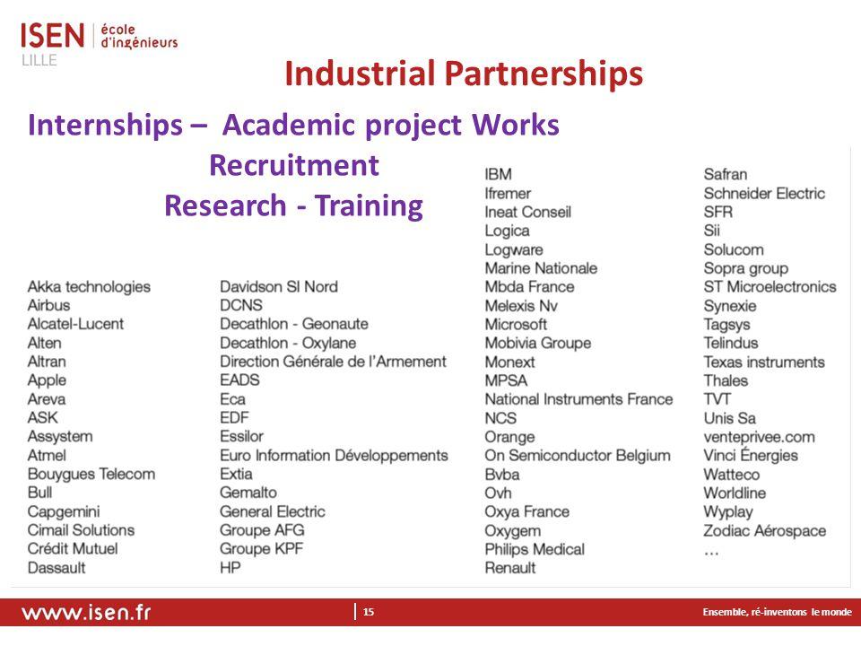 Ensemble, ré-inventons le monde 15 Industrial Partnerships Internships – Academic project Works Recruitment Research - Training