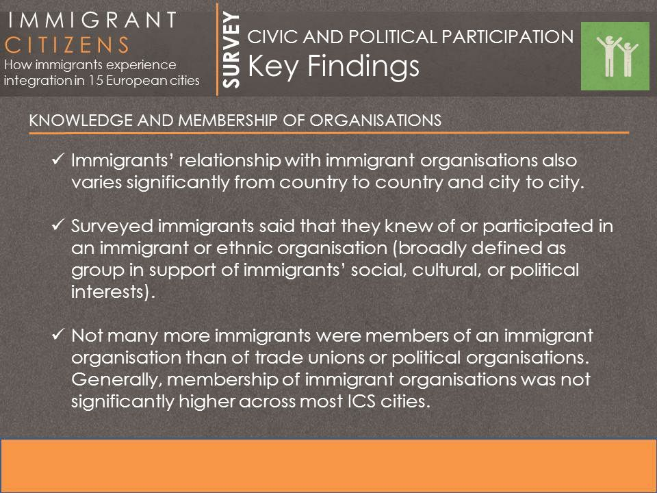 KNOWLEDGE AND MEMBERSHIP OF ORGANISATIONS Immigrants' relationship with immigrant organisations also varies significantly from country to country and city to city.