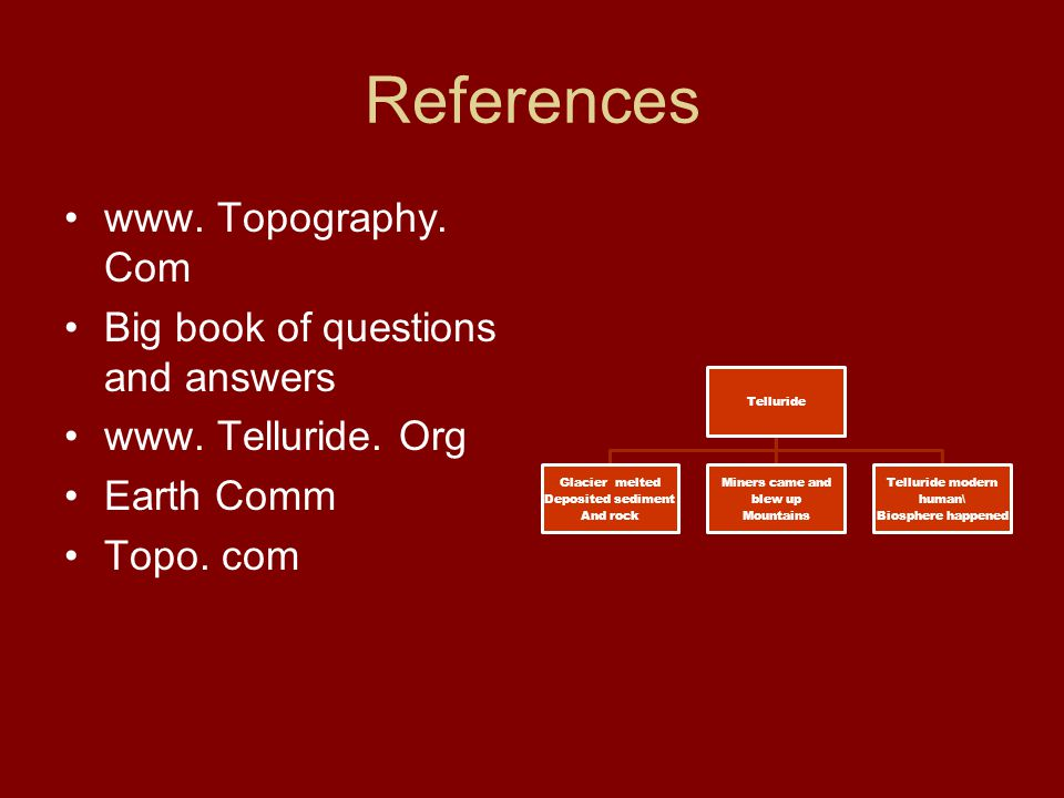 References www. Topography. Com Big book of questions and answers www.