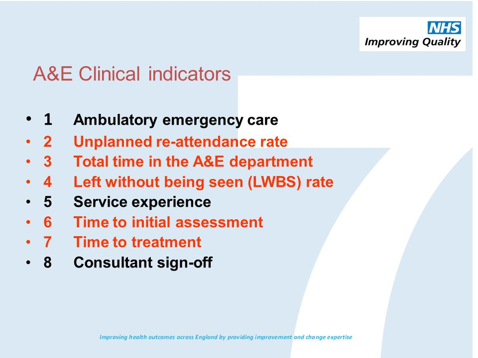 A&E Clinical indicators 1 Ambulatory emergency care 2 Unplanned re-attendance rate 3 Total time in the A&E department 4 Left without being seen (LWBS) rate 5 Service experience 6 Time to initial assessment 7 Time to treatment 8 Consultant sign-off