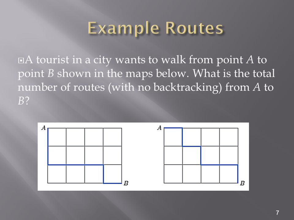  A tourist in a city wants to walk from point A to point B shown in the maps below. What is the total number of routes (with no backtracking) from A