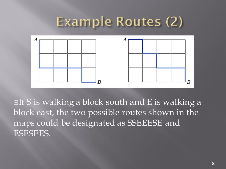  All routes can be designated as a string of 7 letters, 3 of which will be S and 4 E.