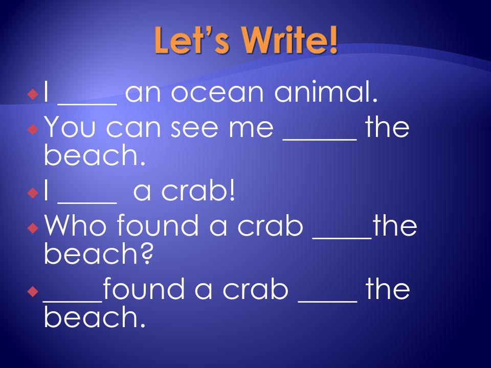  I ____ an ocean animal.  You can see me _____ the beach.  I ____ a crab!  Who found a crab ____the beach?  ____found a crab ____ the beach.