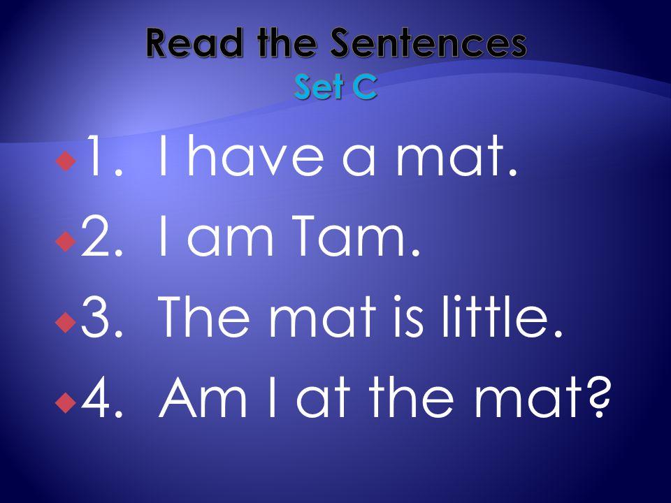  1. I have a mat.  2. I am Tam.  3. The mat is little.  4. Am I at the mat?