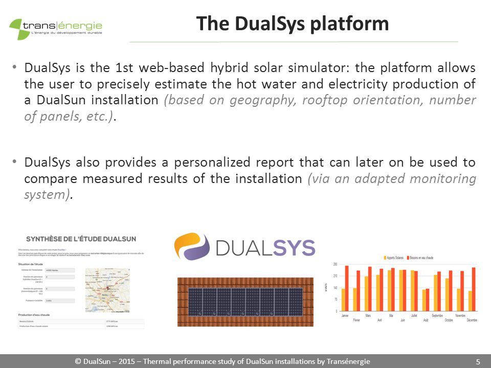 © DualSun – 2015 – Thermal performance study of DualSun installations by Transénergie 5 DualSys is the 1st web-based hybrid solar simulator: the platform allows the user to precisely estimate the hot water and electricity production of a DualSun installation (based on geography, rooftop orientation, number of panels, etc.).
