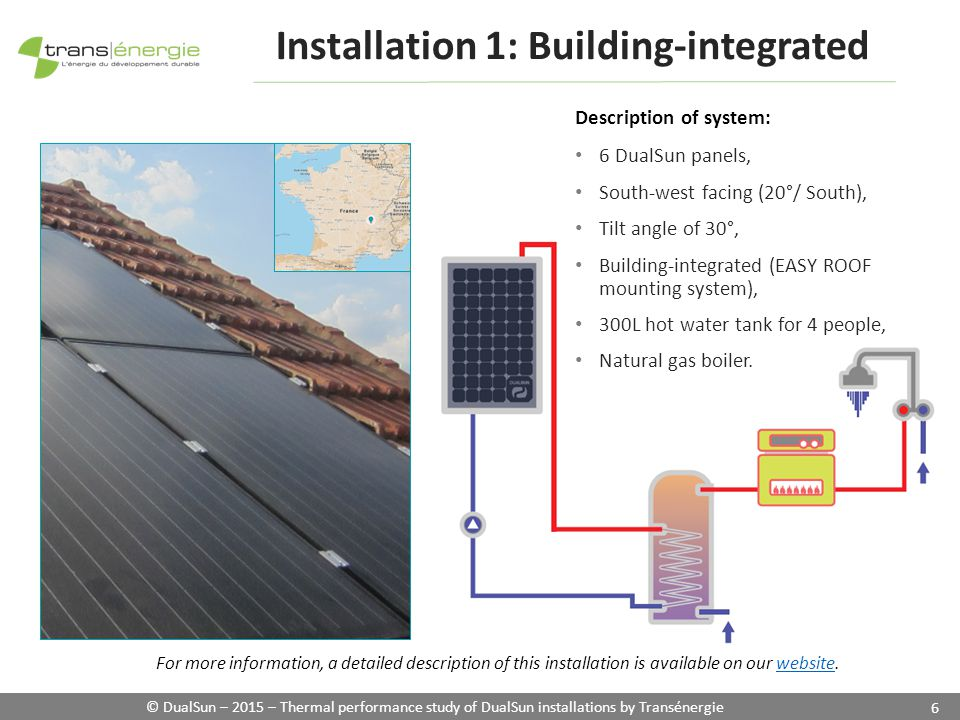 © DualSun – 2015 – Thermal performance study of DualSun installations by Transénergie 6 Installation 1: Building-integrated Description of system: 6 DualSun panels, South-west facing (20°/ South), Tilt angle of 30°, Building-integrated (EASY ROOF mounting system), 300L hot water tank for 4 people, Natural gas boiler.