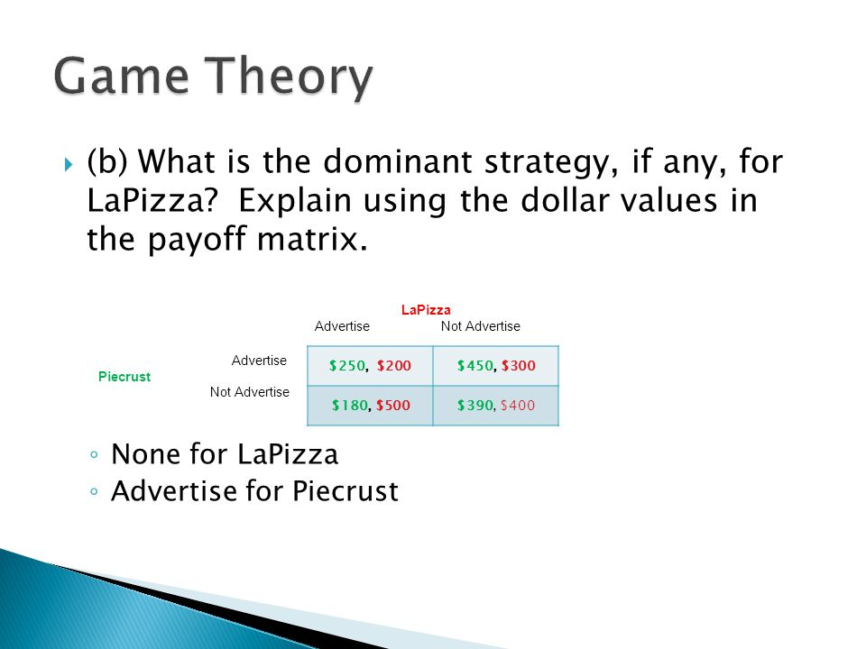 (b) What is the dominant strategy, if any, for LaPizza? Explain using the dollar values in the payoff matrix. ◦ None for LaPizza ◦ Advertise for Pie