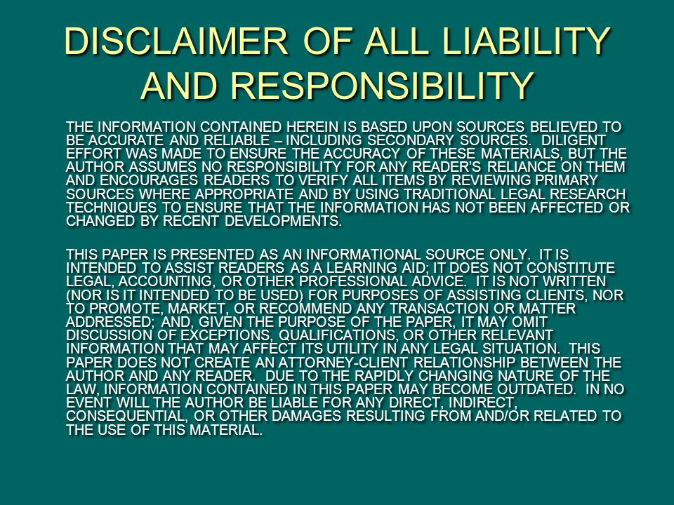 DISCLAIMER OF ALL LIABILITY AND RESPONSIBILITY THE INFORMATION CONTAINED HEREIN IS BASED UPON SOURCES BELIEVED TO BE ACCURATE AND RELIABLE – INCLUDING SECONDARY SOURCES.