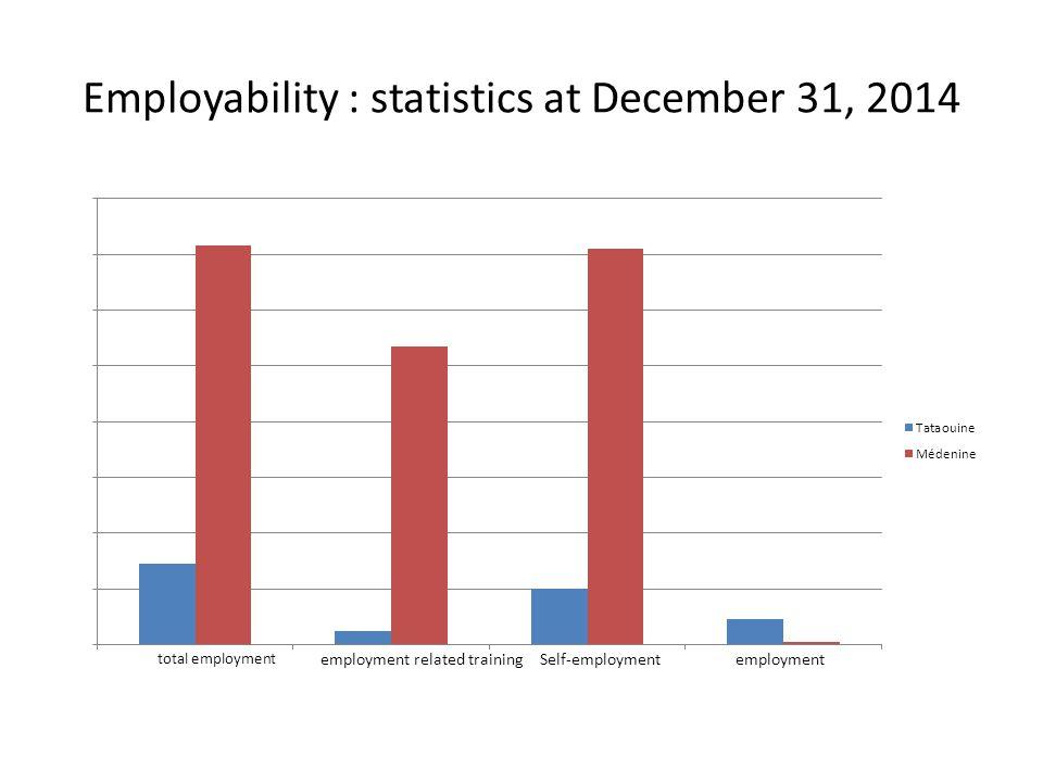 Employability : statistics at December 31, 2014 Self-employmentemploymentemployment related training