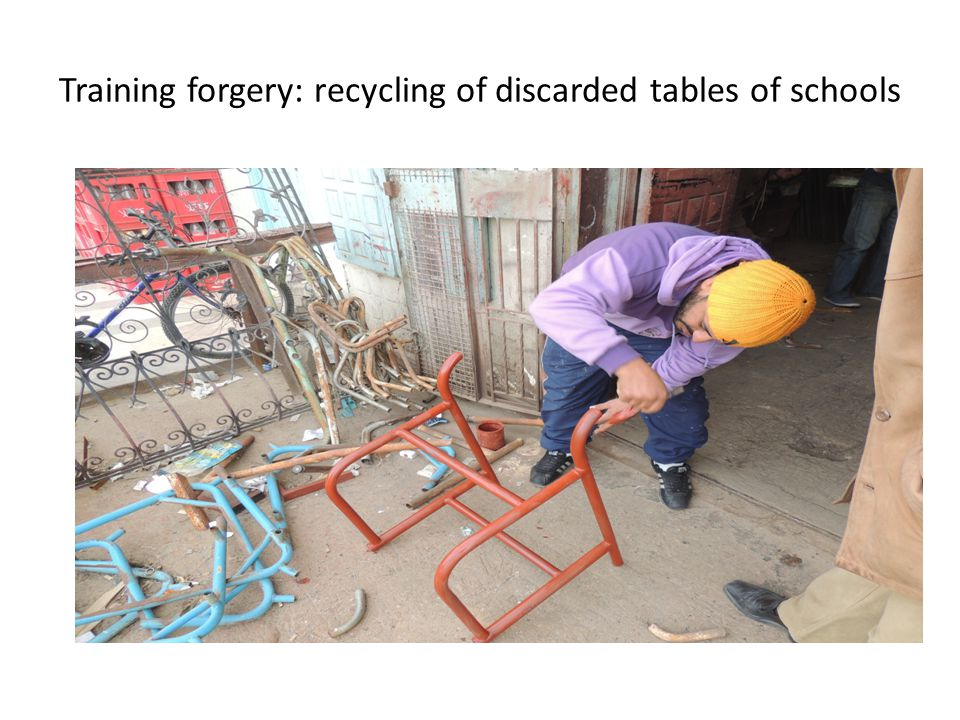 Training forgery: recycling of discarded tables of schools