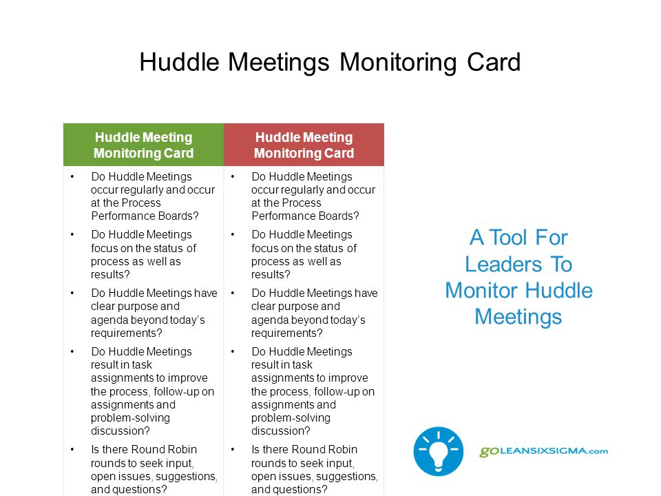 Huddle Meetings Monitoring Card Huddle Meeting Monitoring Card Do Huddle Meetings occur regularly and occur at the Process Performance Boards? Do Hudd