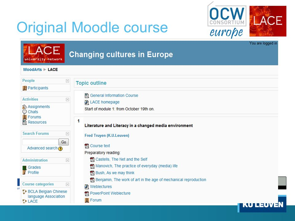 Original Moodle course