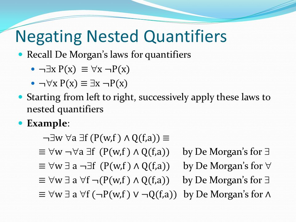 Negating Nested Quantifiers Recall De Morgan's laws for quantifiers ¬  x P(x) ≡  x ¬P(x) ¬  x P(x) ≡  x ¬P(x) Starting from left to right, success