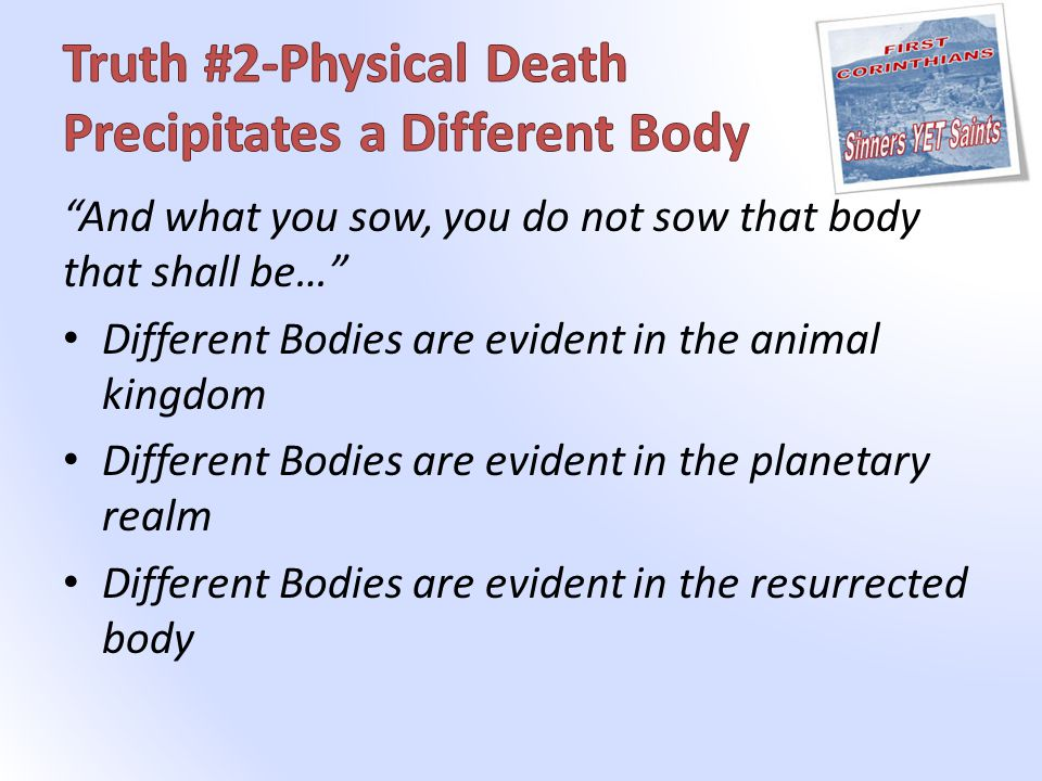 And what you sow, you do not sow that body that shall be… Different Bodies are evident in the animal kingdom Different Bodies are evident in the planetary realm Different Bodies are evident in the resurrected body