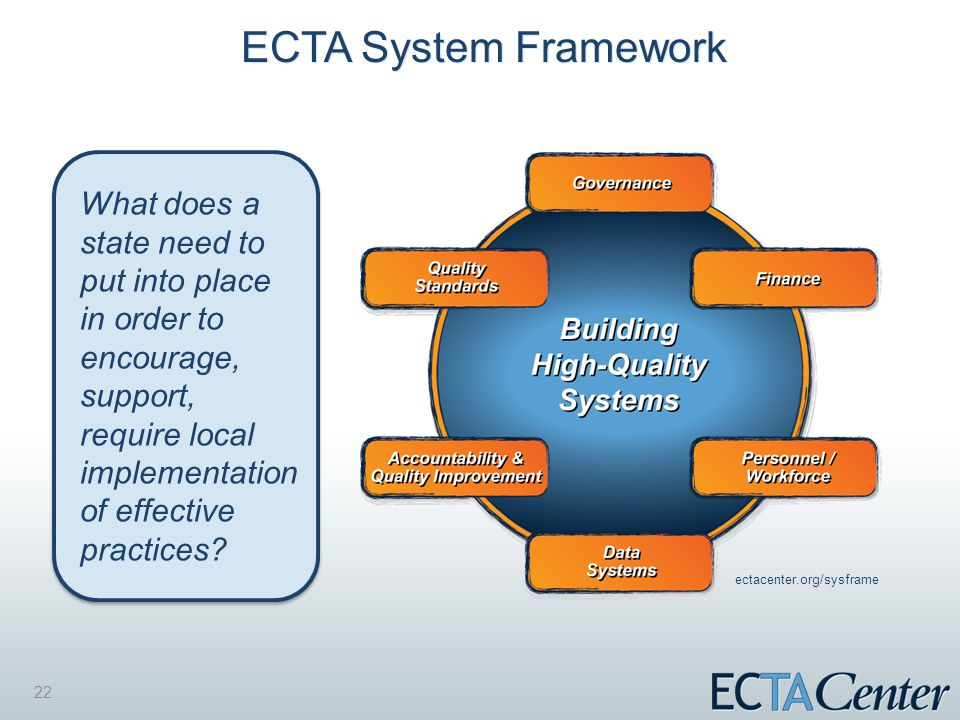 22 ECTA System Framework What does a state need to put into place in order to encourage, support, require local implementation of effective practices.
