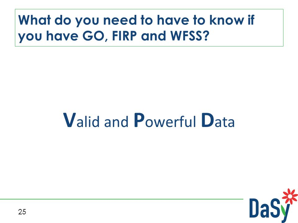 25 What do you need to have to know if you have GO, FIRP and WFSS? V alid and P owerful D ata