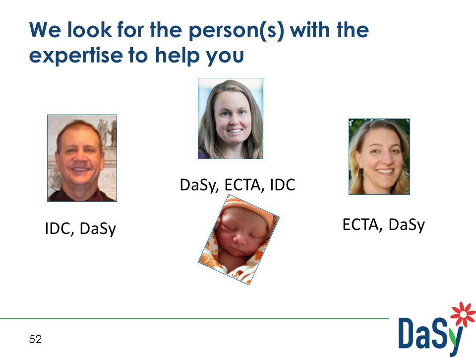 52 We look for the person(s) with the expertise to help you DaSy, ECTA, IDC IDC, DaSy ECTA, DaSy