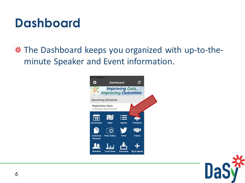 6 Dashboard The Dashboard keeps you organized with up-to-the- minute Speaker and Event information.
