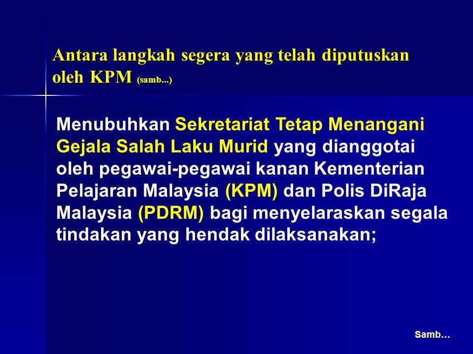 Menubuhkan Sekretariat Tetap Menangani Gejala Salah Laku Murid yang dianggotai oleh pegawai-pegawai kanan Kementerian Pelajaran Malaysia (KPM) dan Pol