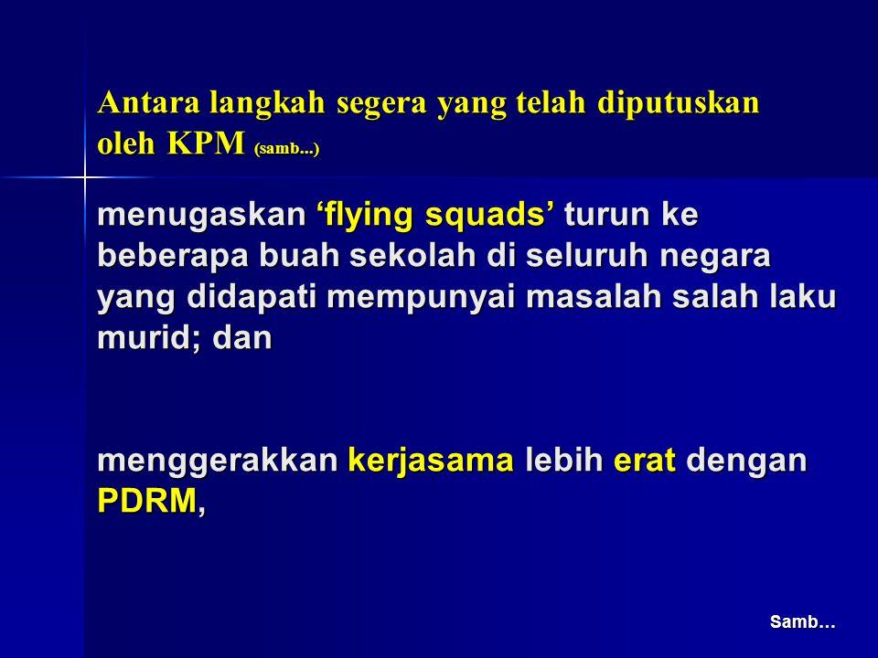 menugaskan 'flying squads' turun ke beberapa buah sekolah di seluruh negara yang didapati mempunyai masalah salah laku murid; dan menggerakkan kerjasa