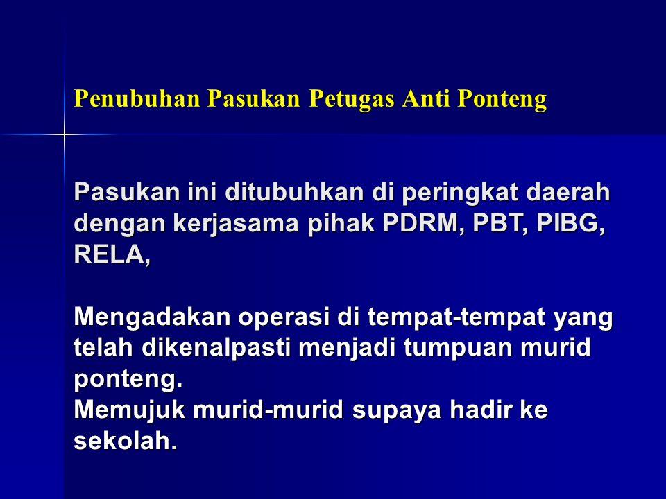 Penubuhan Pasukan Petugas Anti Ponteng Pasukan ini ditubuhkan di peringkat daerah dengan kerjasama pihak PDRM, PBT, PIBG, RELA, Mengadakan operasi di