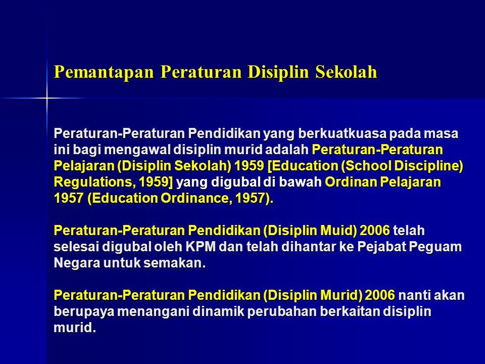 Pemantapan Peraturan Disiplin Sekolah Peraturan-Peraturan Pendidikan yang berkuatkuasa pada masa ini bagi mengawal disiplin murid adalah Peraturan-Per