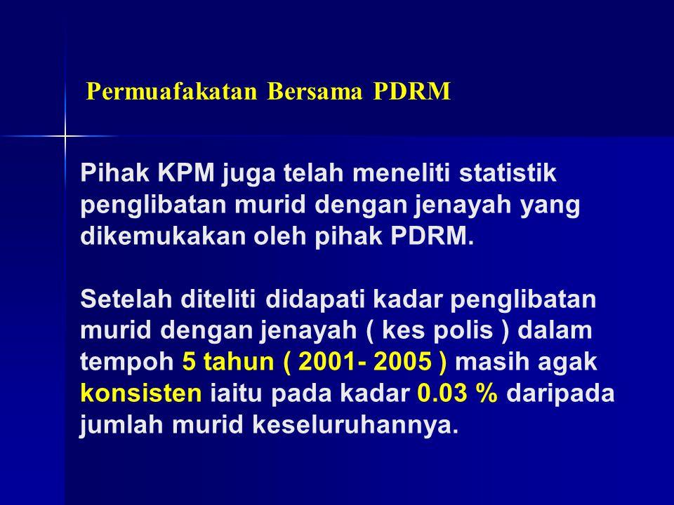 Permuafakatan Bersama PDRM Pihak KPM juga telah meneliti statistik penglibatan murid dengan jenayah yang dikemukakan oleh pihak PDRM. Setelah diteliti