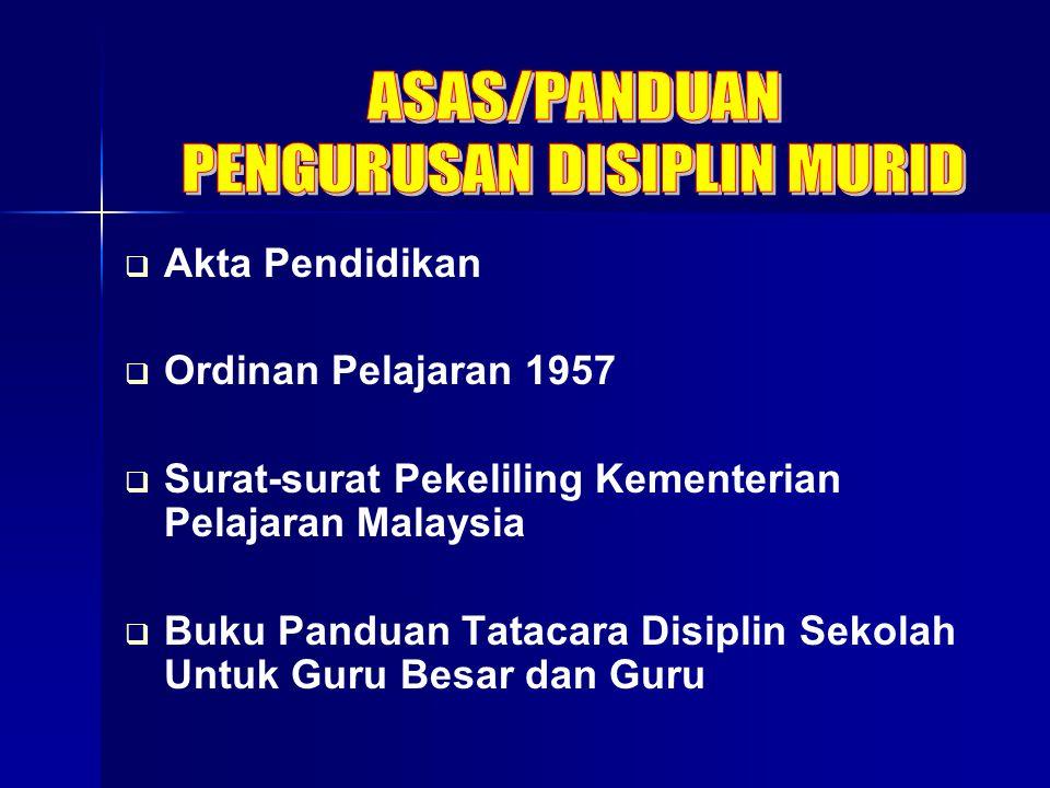   Akta Pendidikan   Ordinan Pelajaran 1957   Surat-surat Pekeliling Kementerian Pelajaran Malaysia   Buku Panduan Tatacara Disiplin Sekolah Un
