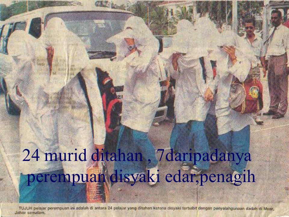 24 murid ditahan, 7daripadanya perempuan disyaki edar,penagih