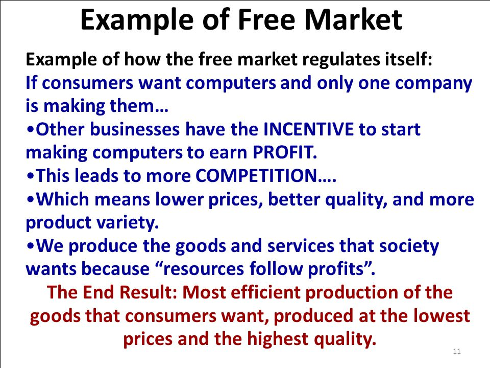 Example of Free Market Example of how the free market regulates itself: If consumers want computers and only one company is making them… Other businesses have the INCENTIVE to start making computers to earn PROFIT.