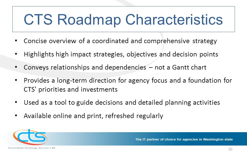 CTS Roadmap Characteristics Concise overview of a coordinated and comprehensive strategy Highlights high impact strategies, objectives and decision points Conveys relationships and dependencies – not a Gantt chart Provides a long-term direction for agency focus and a foundation for CTS priorities and investments Used as a tool to guide decisions and detailed planning activities Available online and print, refreshed regularly 20