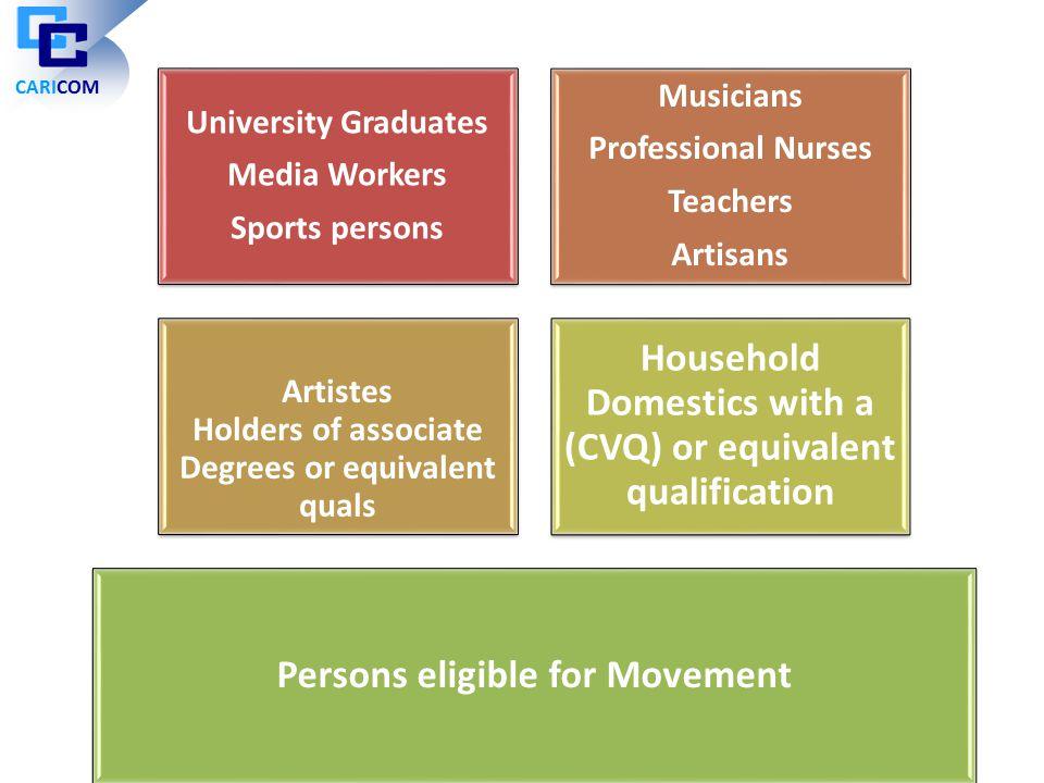 University Graduates Media Workers Sports persons Musicians Professional Nurses Teachers Artisans Artistes Holders of associate Degrees or equivalent
