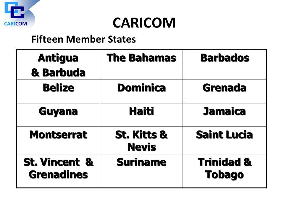 Antigua & Barbuda The Bahamas Barbados BelizeDominicaGrenada GuyanaHaitiJamaica Montserrat St. Kitts & Nevis Saint Lucia St. Vincent & Grenadines Suri