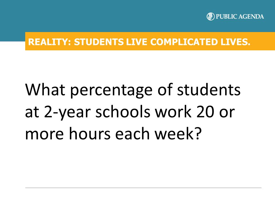 REALITY: STUDENTS LIVE COMPLICATED LIVES. What percentage of students at 2-year schools work 20 or more hours each week?