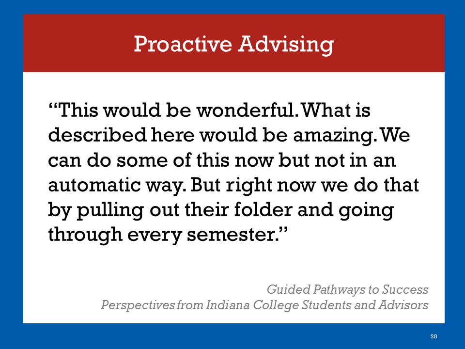 """Proactive Advising 28 """"This would be wonderful. What is described here would be amazing. We can do some of this now but not in an automatic way. But r"""