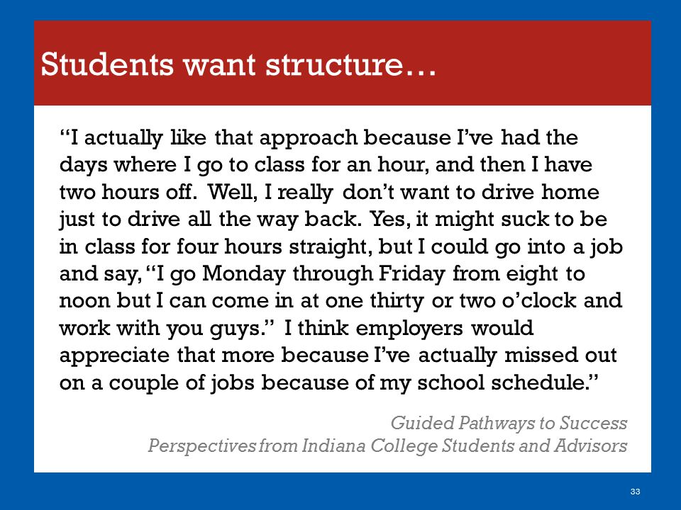 """Students want structure… 33 """"I actually like that approach because I've had the days where I go to class for an hour, and then I have two hours off. W"""