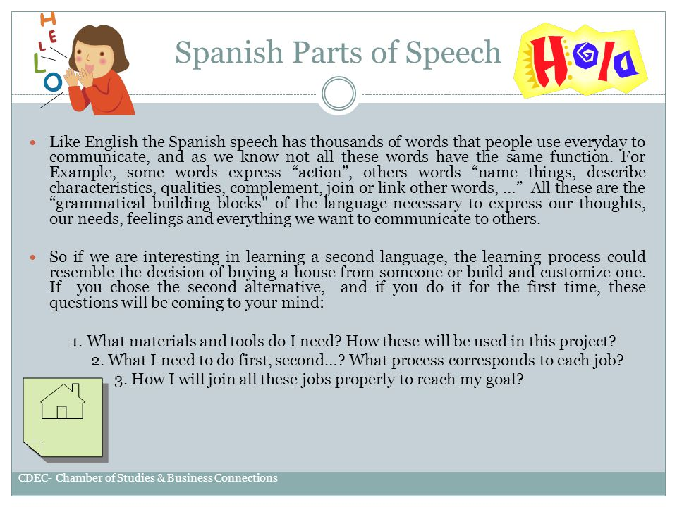 SPANISH CLASS GRAMMAR INTRODUCTION CDEC-CHAMBER OF STUDIES &BUSINESS CONNECTIONS LLC.