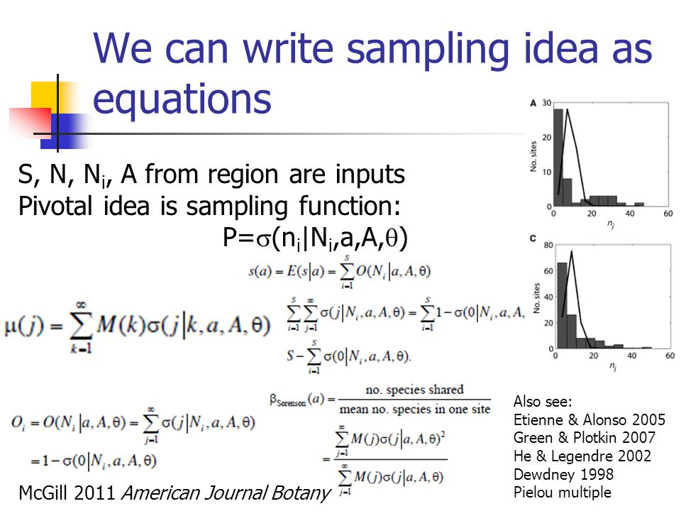 We can write sampling idea as equations S, N, N i, A from region are inputs Pivotal idea is sampling function: P=  (n i |N i,a,A,  ) McGill 2011 Ame