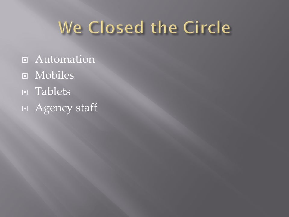 Automation  Mobiles  Tablets  Agency staff