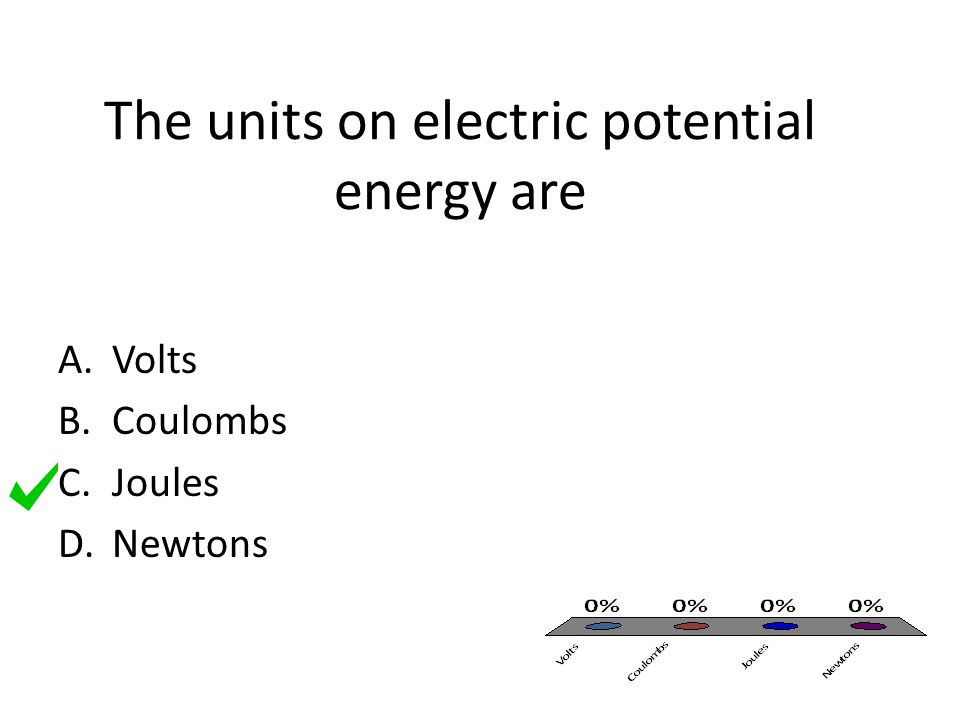 The units on electric potential energy are A.Volts B.Coulombs C.Joules D.Newtons